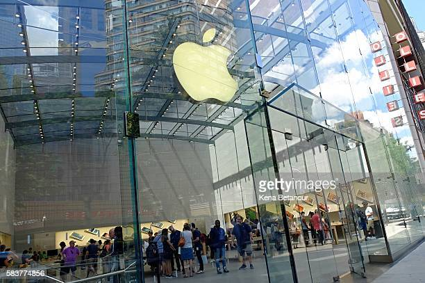 The Apple Store Upper West Side is shown July 27 2016 in New York City On Tuesday Apple reported a steep slump in revenue and profit but beat analyst...