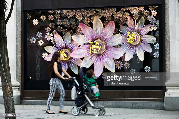 The Apple watch is displayed in the shop windows of Selfridges on August 20 2015 in London United Kingdom