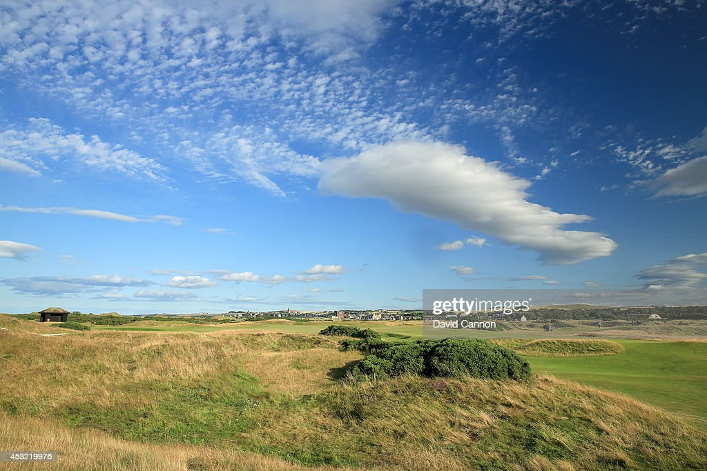 The approach to the green on the 465 yards par 4, 13th hole 'Hole O'Cross In' on the Old Course at St Andrews venue for The Open Championship in 2015, on July 29, 2014 in St Andrews, Scotland.