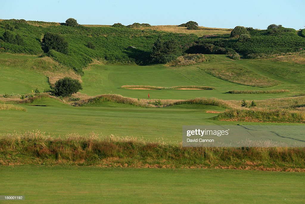 The approach to the green on the 511 yards par 5 11th hole 'Long un' at The Royal Cromer Golf Club on July 25 in Cromer Norfolk England