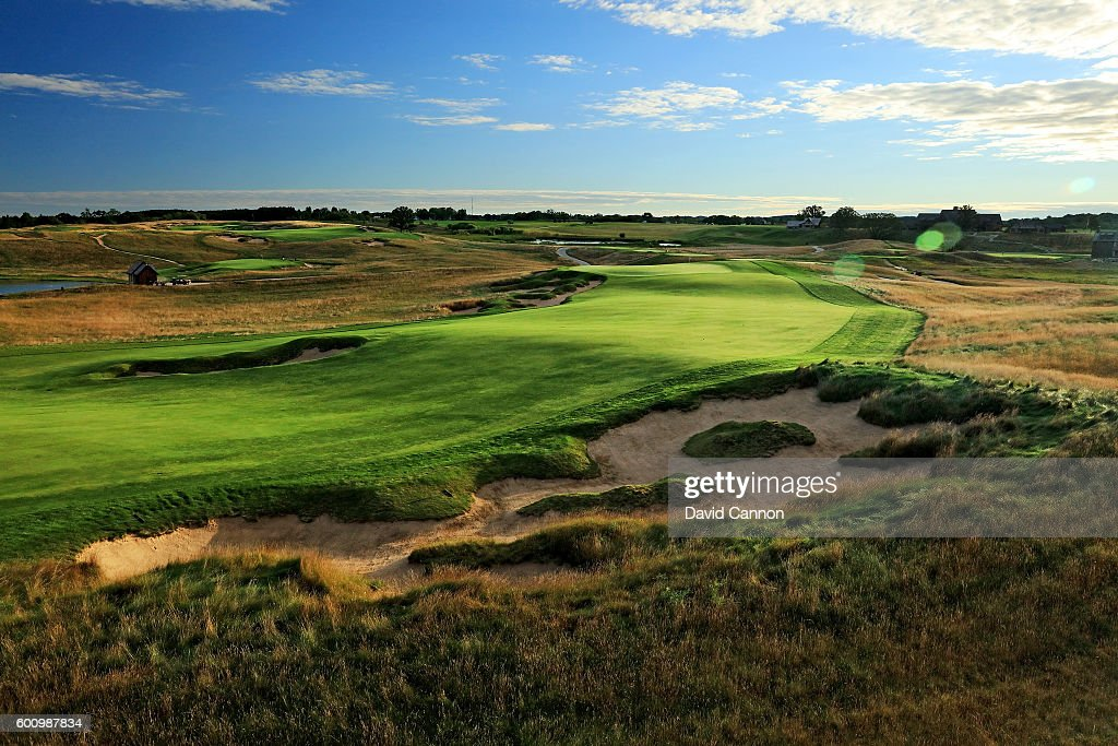 The approach to the green on the 663 yards par 5, 18th hole at Erin Hills Golf Course the venue for the 2017 US Open Championship on September 1, 2016 in Erin, Wisconsin.