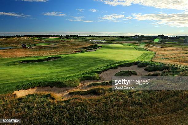 The approach to the green on the 663 yards par 5 18th hole at Erin Hills Golf Course the venue for the 2017 US Open Championship on September 1 2016...