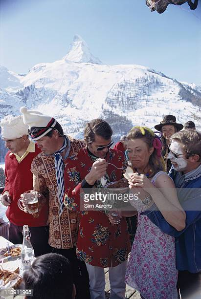 The apresski in Zermatt Switzerland March 1968