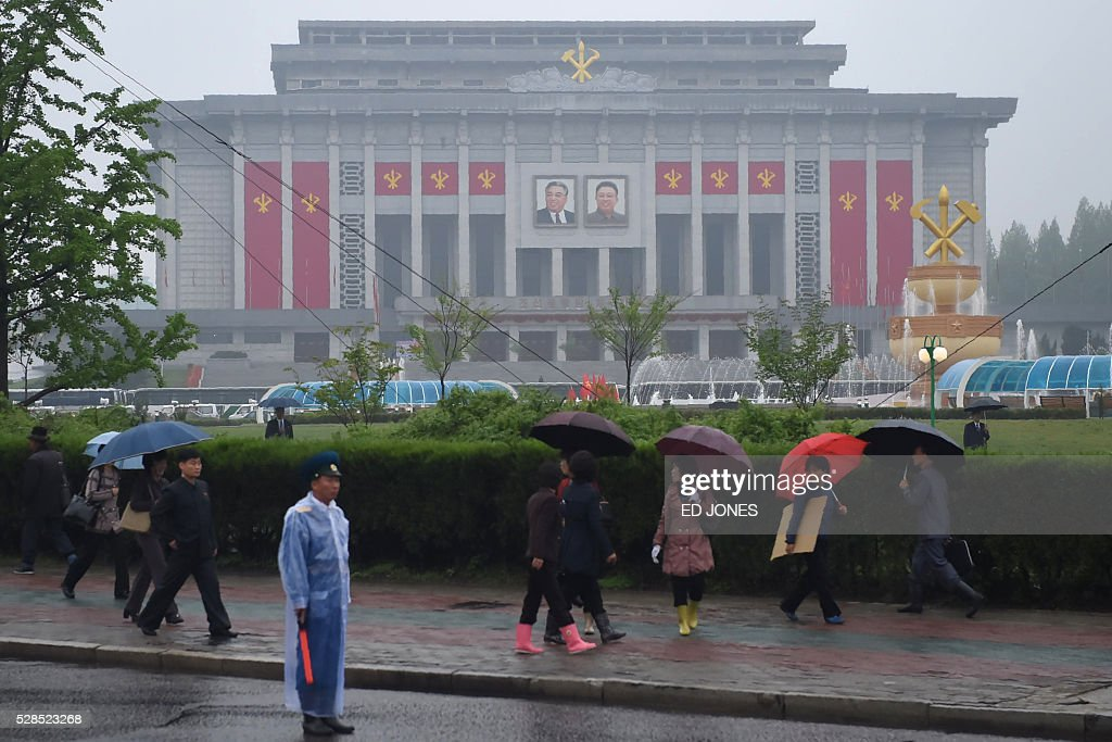 The April 25 Palace, venue of the Workers' Party Congress, is seen ahead of the event in Pyongyang on May 6, 2016. North Korea will on May 6 launch its highest-level ruling party meeting in almost 40 years, with delegates set to heap praise on its nuclear arsenal as a 'precious sword' amid fears of a fresh atomic test. / AFP / Ed Jones
