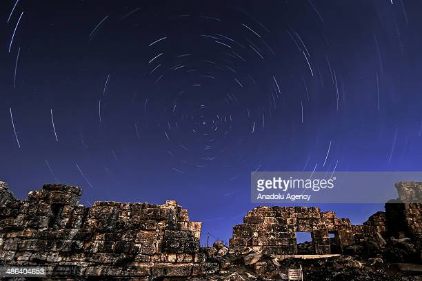 The April Lyrids a meteor shower lasting from April 16 to April 26 each year is seen over the ancient city of Aizanoi in Kutahya Turkey on April 23...