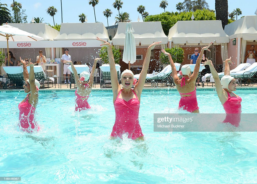 The Aqualillies perform at the Beverly Hills Hotel 100th Anniversary Weekend CabanaChic Pool Party featuring a special performance by Aqualillies...
