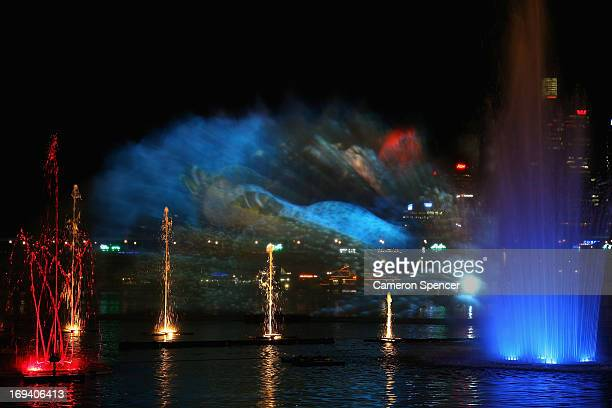 The Aquatique fountain and light show is seen during the Vivid Sydney festival at Darling Harbour on May 24 2013 in Sydney Australia
