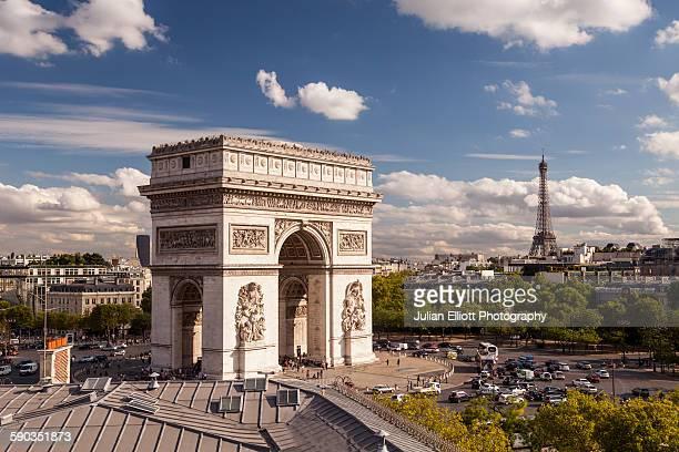 The Arc de Triomphe and Place Charles de Gaulle.