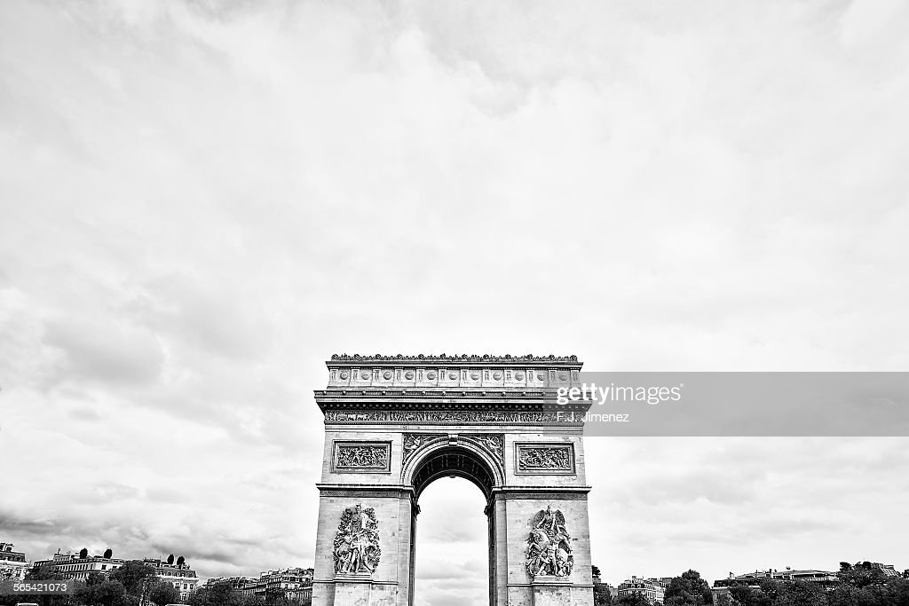 The Arc de Triomphe, Paris, in black and white