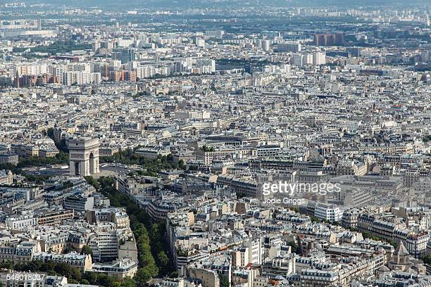 The Arc de Triomphe, taken from the Eiffel Tower