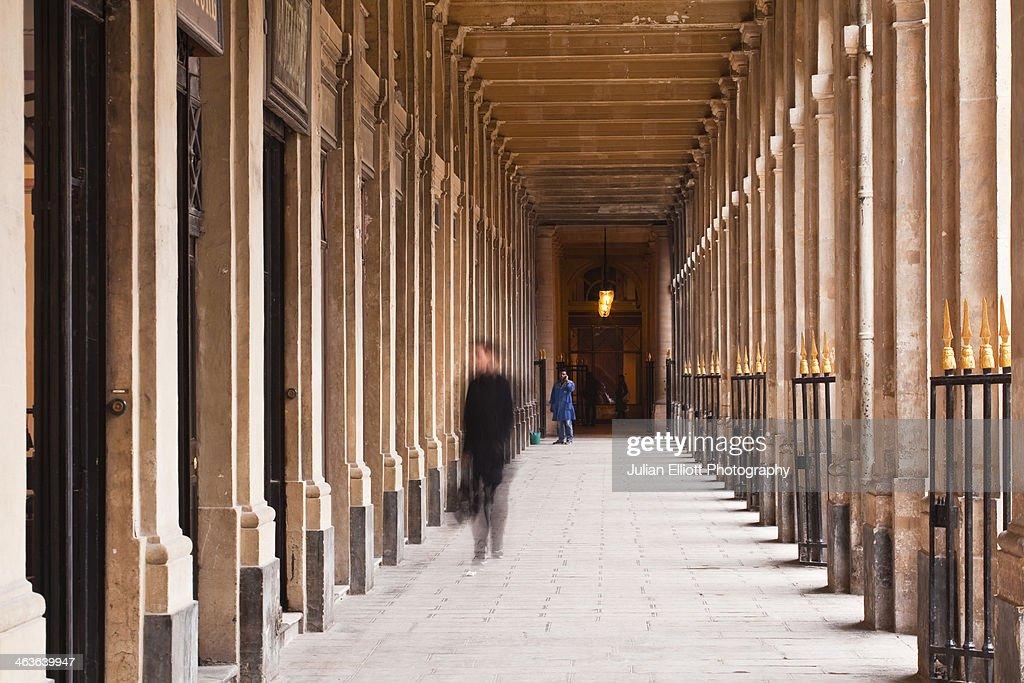 The arcades of the Palais Royal in Paris.