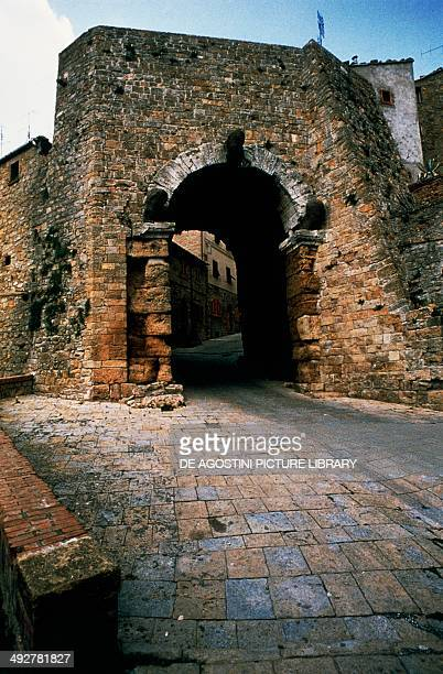 The Arch gate 4th3rd century BC part of the city walls Volterra Tuscany Italy