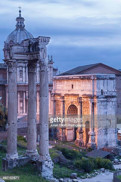 The Arch of Tiberius and the Roman Forum.