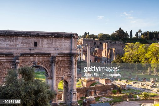 The Arch of Tiberius in the Roman Forum, Rome.