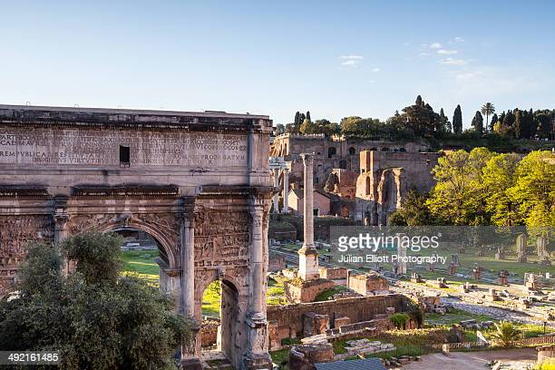 The Arch of Tiberius in the Roman Forum, Rome.