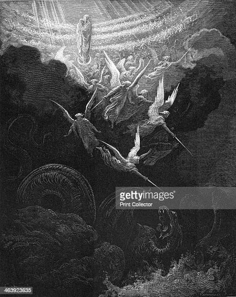 The Archangel Michael and his angels fighting the dragon 18651866 The Virgin Mary with the infant Jesus in her arms looks down from Heaven From...