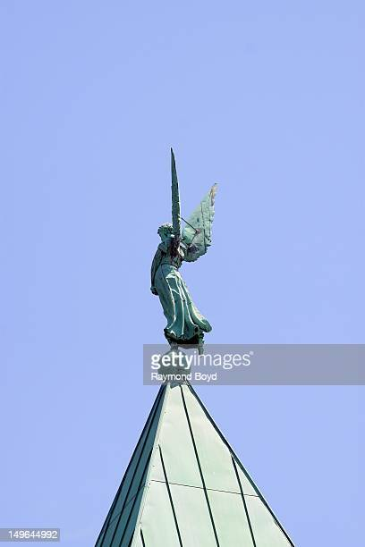 The Archangel Uriel sits atop Historic First Congregational Church in Detroit Michigan on JULY 21 2012