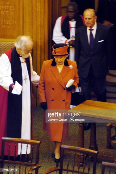 The Archbishop of Canterbury Dr Rowan Williams gestures to Britain's Queen Elizabeth II at the Inauguration of the Eighth General Synod of the Church...