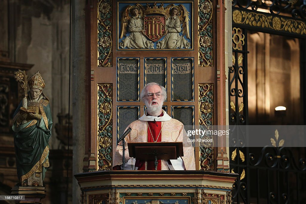 The Archbishop of Canterbury, Dr <a gi-track='captionPersonalityLinkClicked' href=/galleries/search?phrase=Rowan+Williams&family=editorial&specificpeople=239468 ng-click='$event.stopPropagation()'>Rowan Williams</a> gives his final Christmas Day sermon in Canterbury Cathedral on December 25, 2012 in Canterbury, England. Dr Williams called for the human race to address the challenges of 'forgiveness and rebuilding relations' as he gave his last Christmas sermon as Archbishop of Canterbury today, before being succeeded by Justin Welby, the Bishop of Durham.