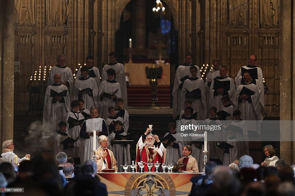 The Archbishop of Canterbury, Dr <a gi-track='captionPersonalityLinkClicked' href=/galleries/search?phrase=Rowan+Williams&family=editorial&specificpeople=239468 ng-click='$event.stopPropagation()'>Rowan Williams</a> gives his final Christmas Day sermon on December 25, 2012 in Canterbury, England. Dr Williams called for the human race to address the challenges of 'forgiveness and rebuilding relations' as he gave his last Christmas sermon as Archbishop of Canterbury today, before being succeeded by Justin Welby, the Bishop of Durham.