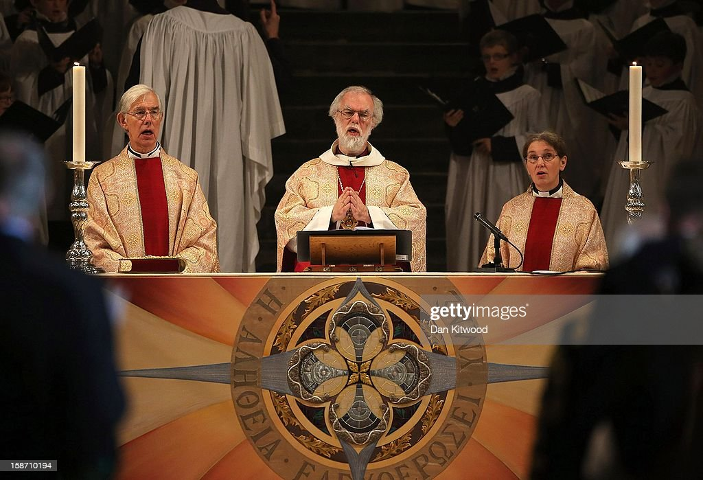 The Archbishop of Canterbury, Dr <a gi-track='captionPersonalityLinkClicked' href=/galleries/search?phrase=Rowan+Williams&family=editorial&specificpeople=239468 ng-click='$event.stopPropagation()'>Rowan Williams</a> leads the Christmas Day service at Canterbury Cathedral on December 25, 2012 in Canterbury, England. Dr Williams called for the human race to address the challenges of 'forgiveness and rebuilding relations' as he gave his last Christmas sermon as Archbishop of Canterbury today, before being succeeded by Justin Welby, the Bishop of Durham.