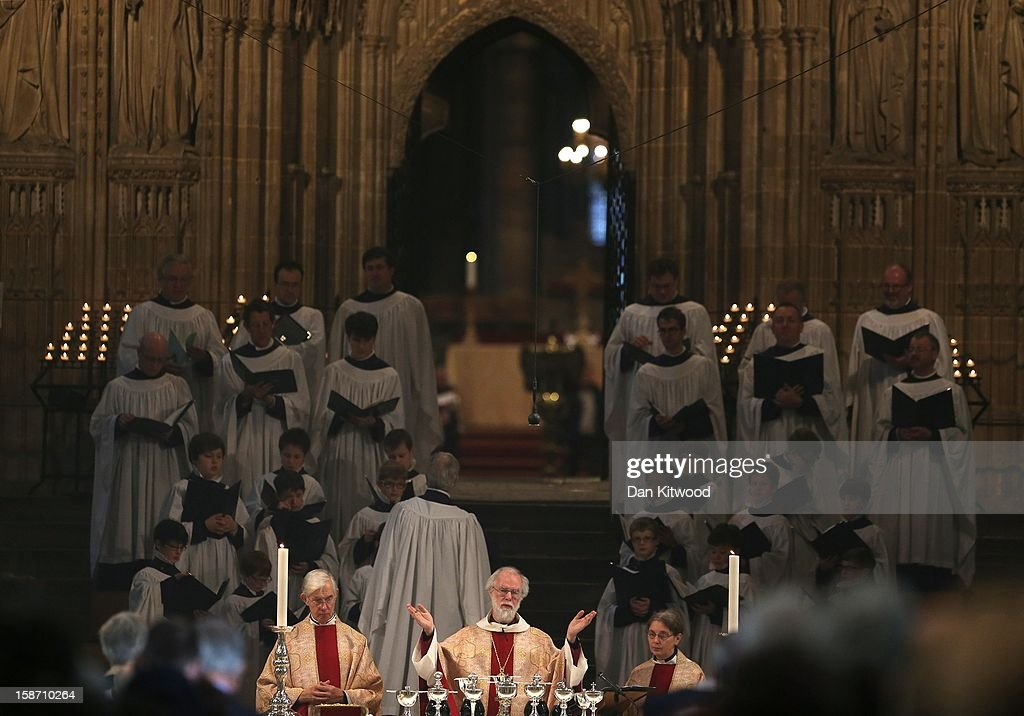 The Archbishop of Canterbury, Dr Rowan Williams leads the Christmas Day service at Canterbury Cathedral on December 25, 2012 in Canterbury, England. Dr Williams called for the human race to address the challenges of 'forgiveness and rebuilding relations' as he gave his last Christmas sermon as Archbishop of Canterbury today, before being succeeded by Justin Welby, the Bishop of Durham.