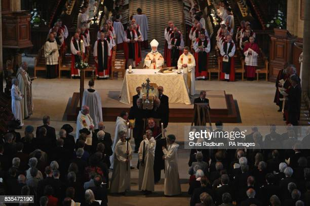 The Archbishop of Canterbury Dr Rowan Williams presides over the Funeral service of The Bishop of Peterborough The Right Reverend Ian Cundy at...