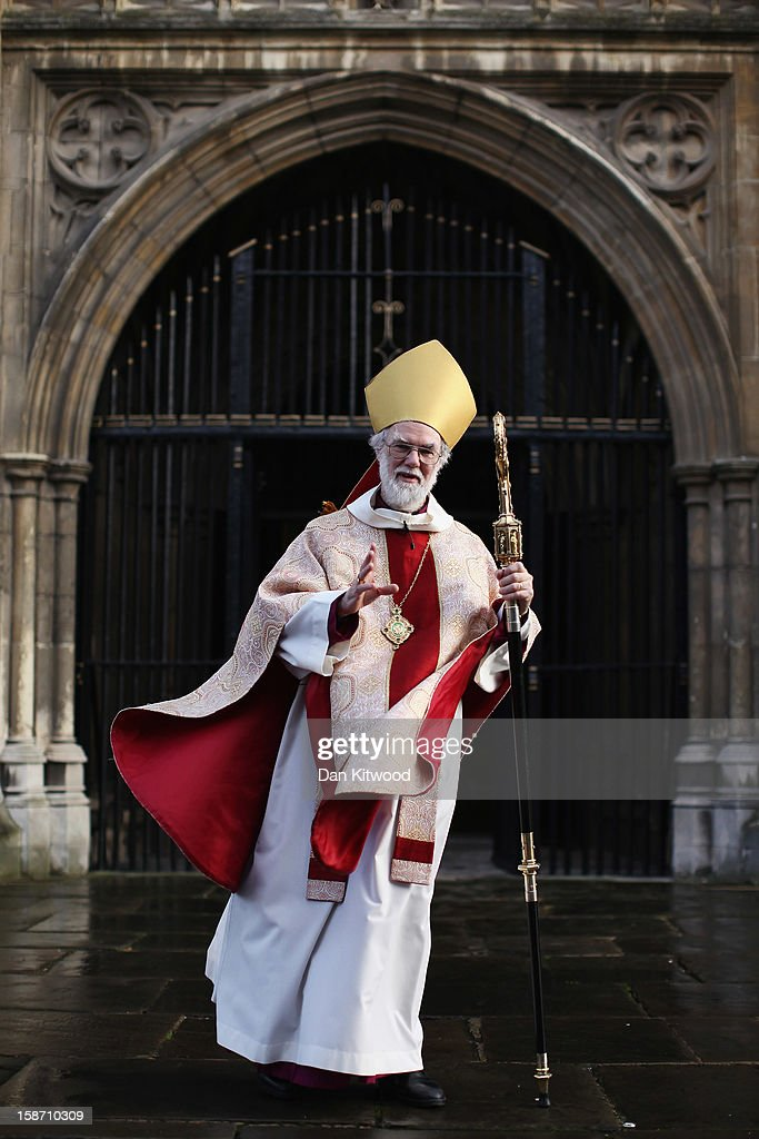 The Archbishop of Canterbury, Dr <a gi-track='captionPersonalityLinkClicked' href=/galleries/search?phrase=Rowan+Williams&family=editorial&specificpeople=239468 ng-click='$event.stopPropagation()'>Rowan Williams</a> stands outside Canterbury Cathedral after giving his final Christmas Day sermon on December 25, 2012 in Canterbury, England. Dr Williams called for the human race to address the challenges of 'forgiveness and rebuilding relations' as he gave his last Christmas sermon as Archbishop of Canterbury today, before being succeeded by Justin Welby, the Bishop of Durham.