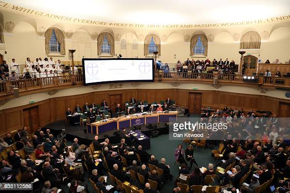 The Archbishop of Canterbury Justin Welby addresses the General Synod in Assembly Hall on February 13 2017 in London England The General Synod...