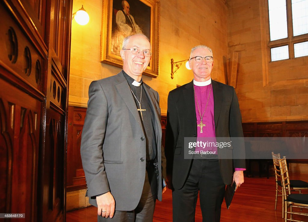 The Archbishop of Canterbury, <a gi-track='captionPersonalityLinkClicked' href=/galleries/search?phrase=Justin+Welby&family=editorial&specificpeople=9960447 ng-click='$event.stopPropagation()'>Justin Welby</a> (L) and Archbishop Philip Freier leave a press conference ahead of Archbishop Philip Freier's inauguration as Primate of Austalia at The Cathedral Chapter House on August 13, 2014 in Melbourne, Australia. It is the first visit to Australia by the spiritual head of the worldwide Anglican Communion since 1997.