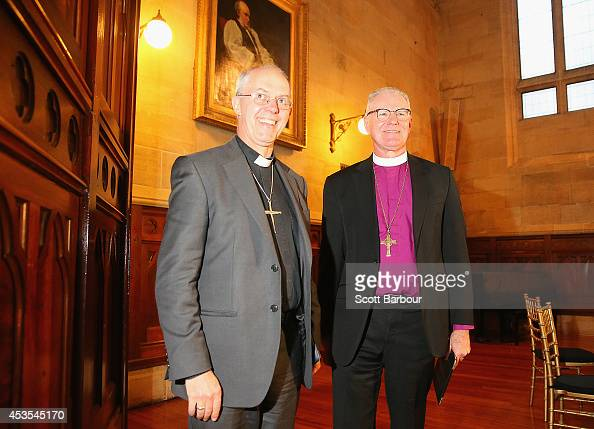 The Archbishop of Canterbury Justin Welby and Archbishop Philip Freier leave a press conference ahead of Archbishop Philip Freier's inauguration as...