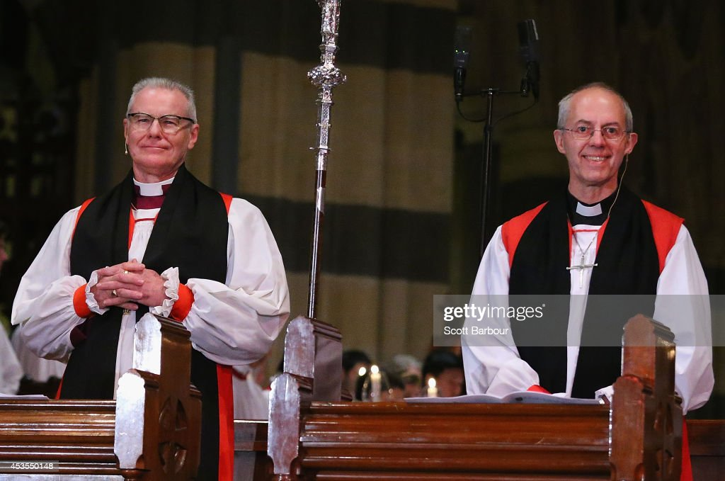 The Archbishop of Canterbury, <a gi-track='captionPersonalityLinkClicked' href=/galleries/search?phrase=Justin+Welby&family=editorial&specificpeople=9960447 ng-click='$event.stopPropagation()'>Justin Welby</a> (R) and Archbishop Philip Freier smile as they attend the inauguration service of Melbourne Archbishop Philip Freier at St. Paul's Cathedral on August 13, 2014 in Melbourne, Australia. It is the first visit to Australia by the spiritual head of the worldwide Anglican Communion since 1997.
