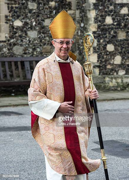 The Archbishop of Canterbury Justin Welby arrives at the west door to deliver his Christmas Day sermon to the congregation at Canterbury Cathedral on...