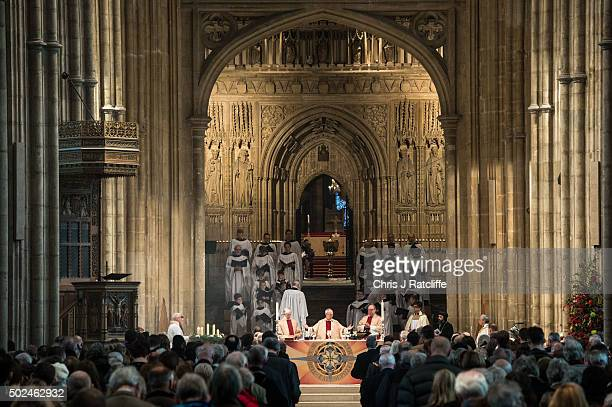 The Archbishop of Canterbury Justin Welby holds communion and delivers his Christmas Day sermon to the congregation at Canterbury Cathedral on...