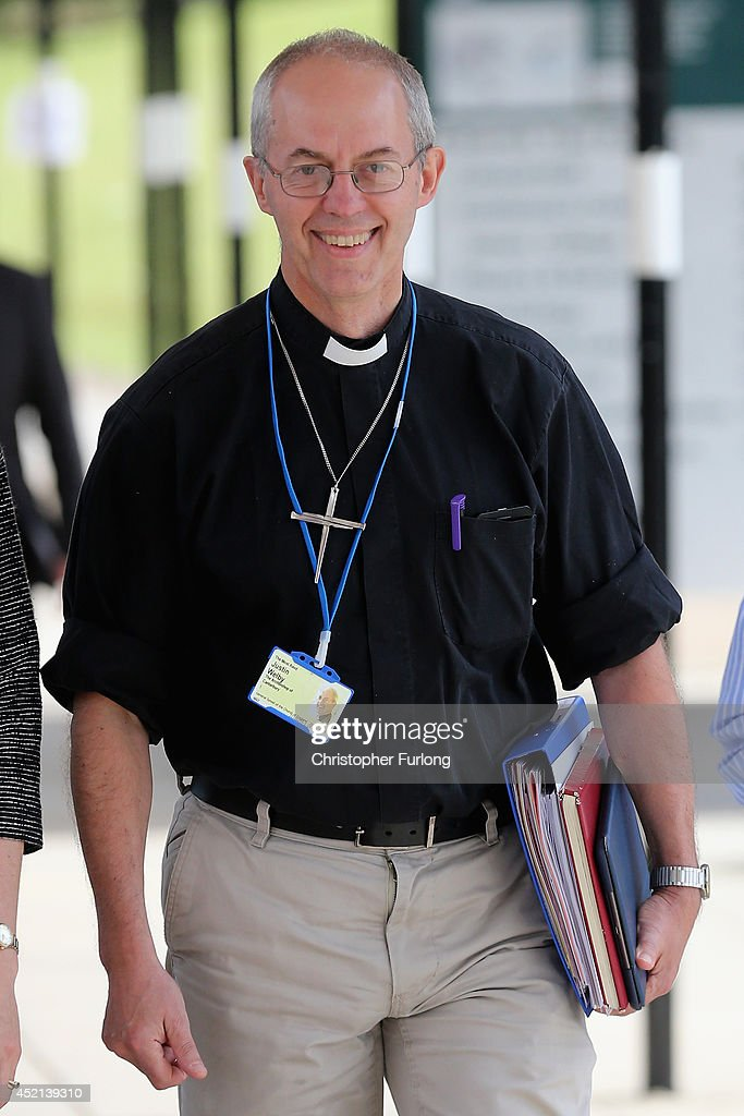 The Archbishop of Canterbury <a gi-track='captionPersonalityLinkClicked' href=/galleries/search?phrase=Justin+Welby&family=editorial&specificpeople=9960447 ng-click='$event.stopPropagation()'>Justin Welby</a> leaves the morning session of the annual Church of England General Synod at York University on July 14, 2014 in York, England. Members and officers of the Church of England's General Synod are voting on whether to introduce women bishops. If successful women bishops could be announced and ordained within the next year.