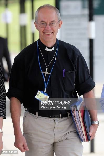 The Archbishop of Canterbury Justin Welby leaves the morning session of the annual Church of England General Synod at York University on July 14 2014...