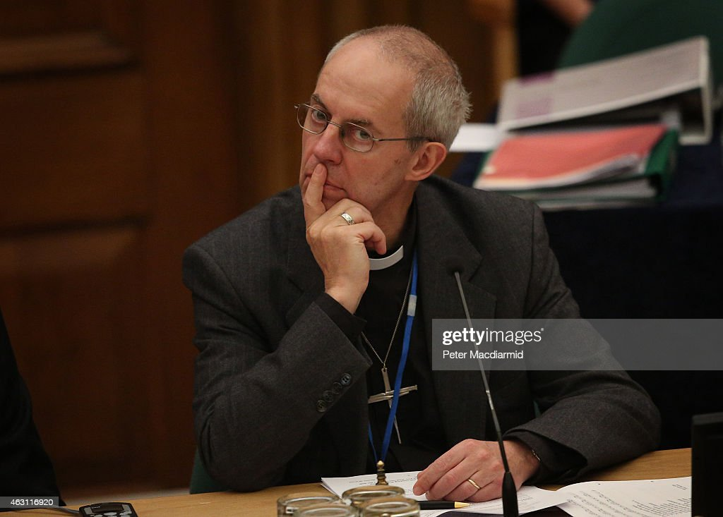 The Archbishop of Canterbury, <a gi-track='captionPersonalityLinkClicked' href=/galleries/search?phrase=Justin+Welby&family=editorial&specificpeople=9960447 ng-click='$event.stopPropagation()'>Justin Welby</a> listens as Archbishop Bashar M Warda, the Archbishop of Erbil, Northern Kurdistan addresses the General Synod at Church House on February 10, 2015 in London, England. Reverend Libby Lane became the Bishop of Stockport, the Church of England's first female Bishop, in January 2015.