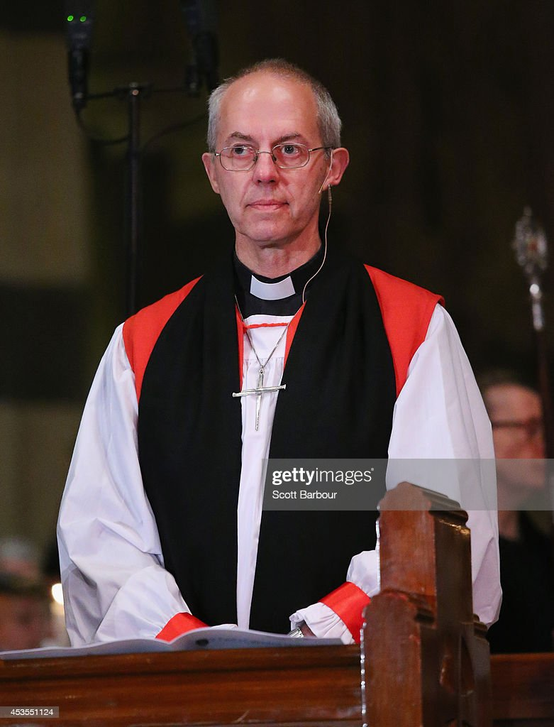 The Archbishop of Canterbury, <a gi-track='captionPersonalityLinkClicked' href=/galleries/search?phrase=Justin+Welby&family=editorial&specificpeople=9960447 ng-click='$event.stopPropagation()'>Justin Welby</a> looks on during the inauguration service of Melbourne Archbishop Philip Freier at St. Paul's Cathedral on August 13, 2014 in Melbourne, Australia. It is the first visit to Australia by the spiritual head of the worldwide Anglican Communion since 1997.