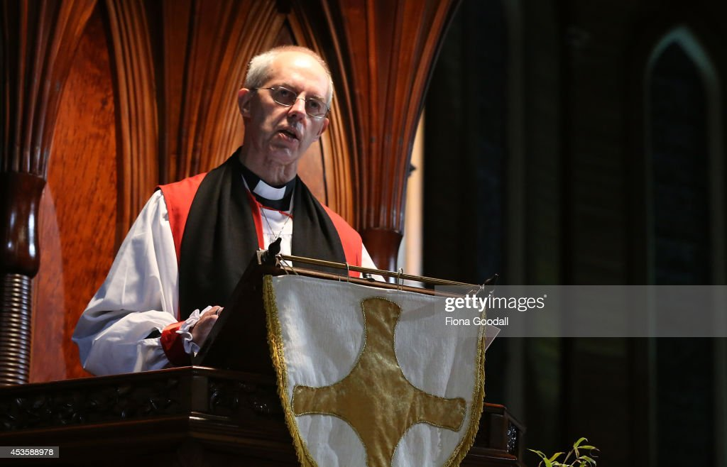 The Archbishop of Canterbury <a gi-track='captionPersonalityLinkClicked' href=/galleries/search?phrase=Justin+Welby&family=editorial&specificpeople=9960447 ng-click='$event.stopPropagation()'>Justin Welby</a> preaches in a service at Holy Sepulchre Church, Grafton on August 14, 2014 in Auckland, New Zealand. The Archbishop of Cantebury is on his first visit to New Zealand, as part of a 10-day visit to Anglican primates in the South Pacific. His visit will also celebrate the 200th anniversary of the Christian gospel first being proclaimed in New Zealand.