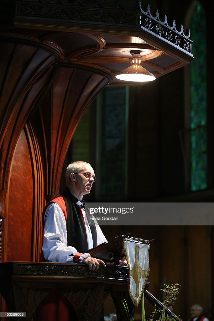 The Archbishop of Canterbury Justin Welby preaches in a service at Holy Sepulchre Church Grafton on August 14 2014 in Auckland New Zealand The...