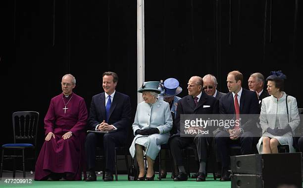 The Archbishop of Canterbury Justin Welby Prime Minister David Cameron Queen Elizabeth II and Prince Philip Duke of Edinburgh are seated by the Magna...