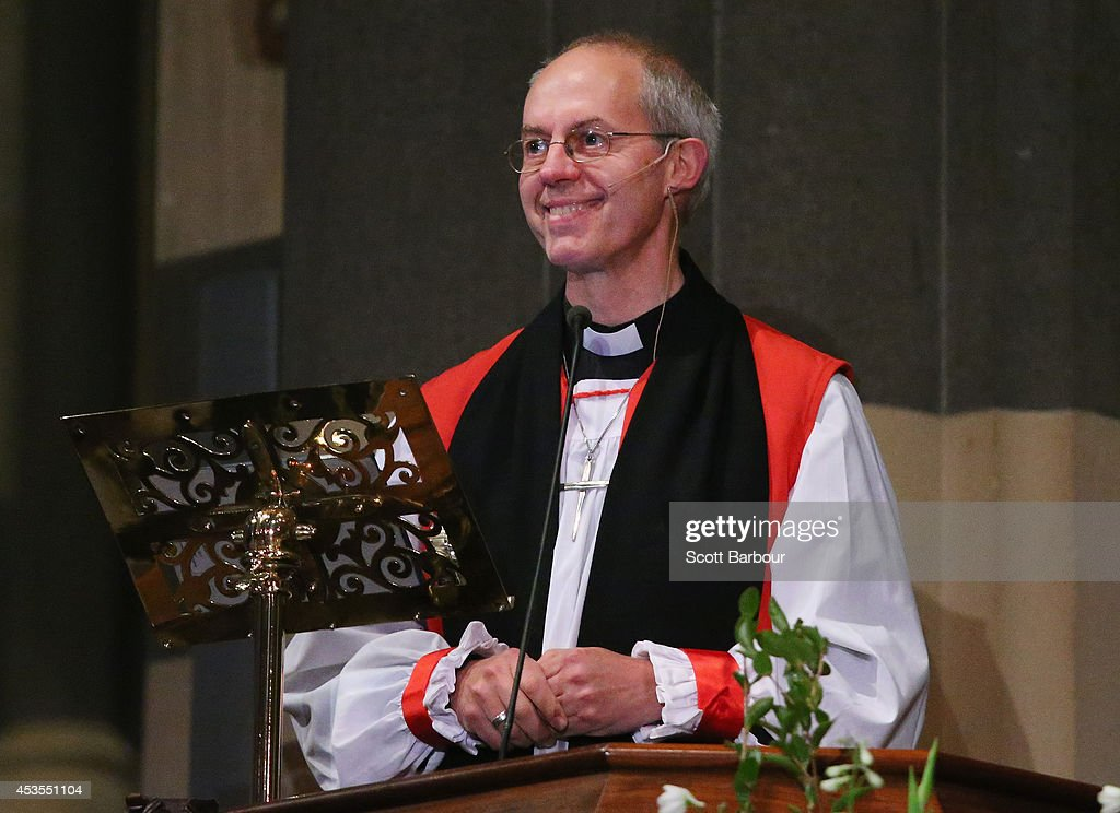 The Archbishop of Canterbury Justin Welby speaks during the inauguration service of Melbourne Archbishop Philip Freier at St Paul's Cathedral on...