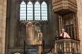 The Archbishop of Canterbury Justin Welby speaks from his pulpit and delivers his Christmas Day sermon to the congregation at Canterbury Cathedral on...