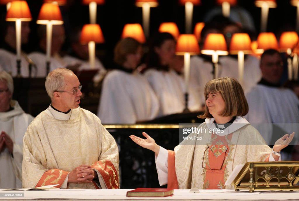 The Archbishop of Canterbury Justin Welby with the Reverend Canon Philippa Boardman treasurer of St Paul's Cathedral during a service to mark the...
