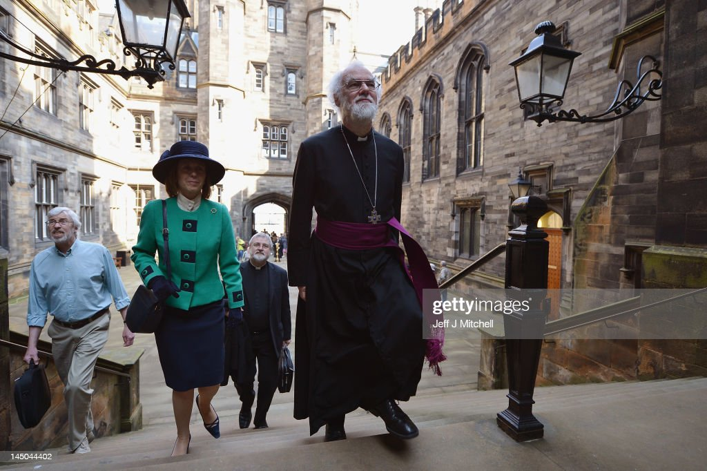 The Archbishop of Canterbury <a gi-track='captionPersonalityLinkClicked' href=/galleries/search?phrase=Rowan+Williams&family=editorial&specificpeople=239468 ng-click='$event.stopPropagation()'>Rowan Williams</a> arrives to address the General Assembly of the Church of Scotland on May 23, 2012 in Edinburgh, Scotland. The Assembly avoided engaging in the contentious 'same sex' marriage debate yesterday when it affirmed its traditional stance that marriage should be between a man and a woman.