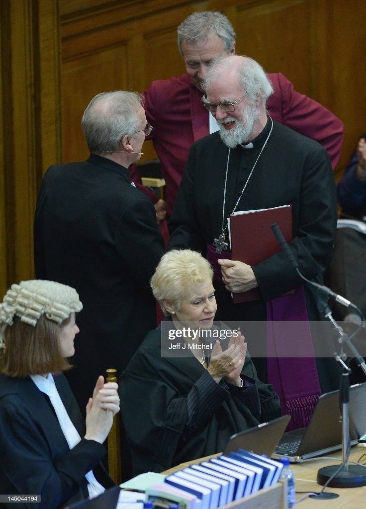 The Archbishop of Canterbury <a gi-track='captionPersonalityLinkClicked' href=/galleries/search?phrase=Rowan+Williams&family=editorial&specificpeople=239468 ng-click='$event.stopPropagation()'>Rowan Williams</a>, shakes hand with Moderator Rev Albert Bogle after addressing the General Assembly of the Church of Scotland on May 23, 2012 in Edinburgh, Scotland. The Assembly avoided engaging in the contentious same sex marriage debate yesterday when it affirmed its traditional stance that marriage is between a man and a woman.