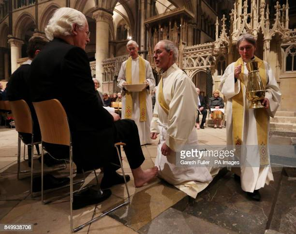 The Archbishop of Canterbury The Most Reverend Justin Welby performs the Washing of the Feet ceremony during the Maundy Thursday Sung Eucharist...