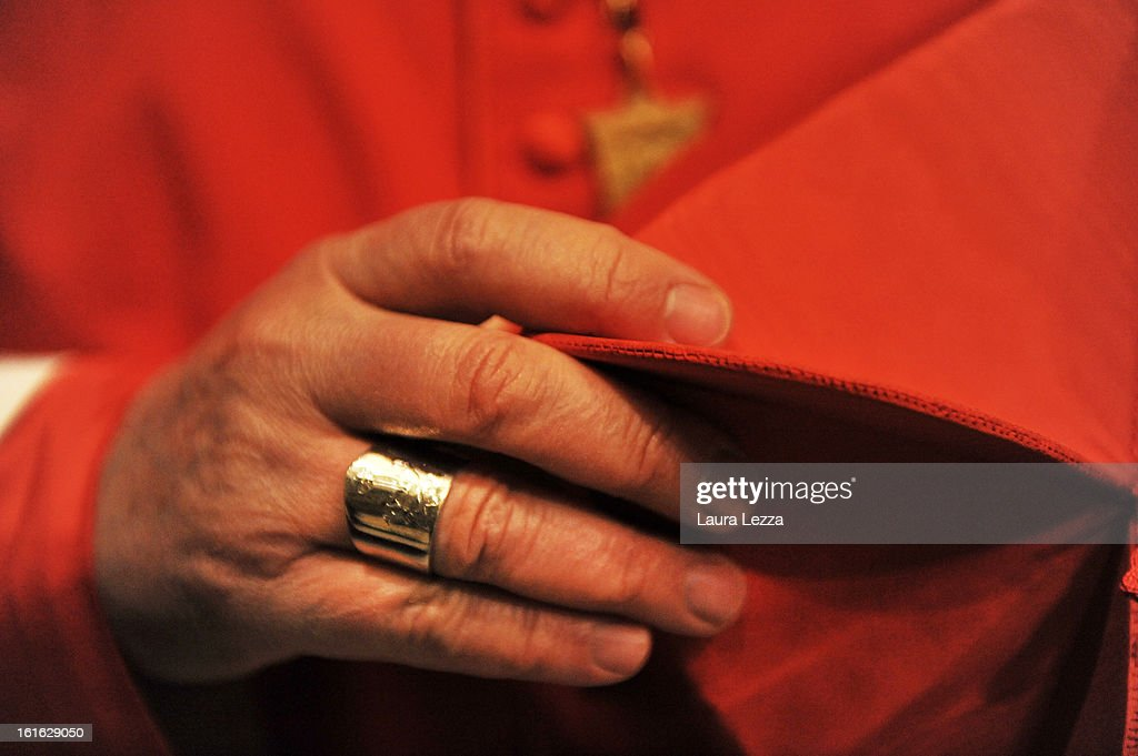 The Archbishop of Florence Giuseppe Betori wears a ring given by the Pope while celebrating Ash Wednesday Mass in the Duomo of Santa Maria del Fiore on February 13, 2013 in Florence, Italy. The Italian Cardinal Giuseppe Betori is considered a candidate to be the next pope. On Monday Pope Benedict XVI announced that he is to retire on February 28 citing age related health reasons.