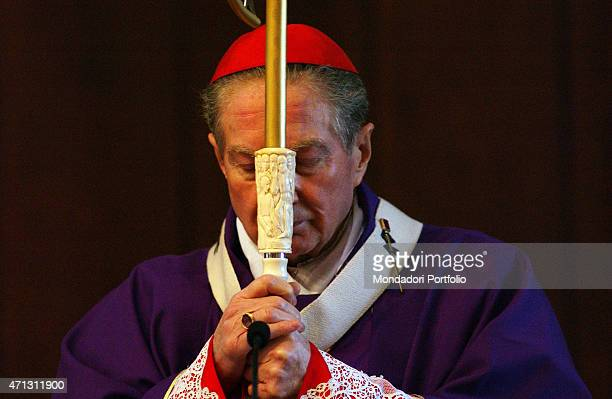 The Archbishop of Milan Cardinal Carlo Maria Martini in the purple mozzetta of the Advent time celebrates Mass in the church of St John the Baptist...