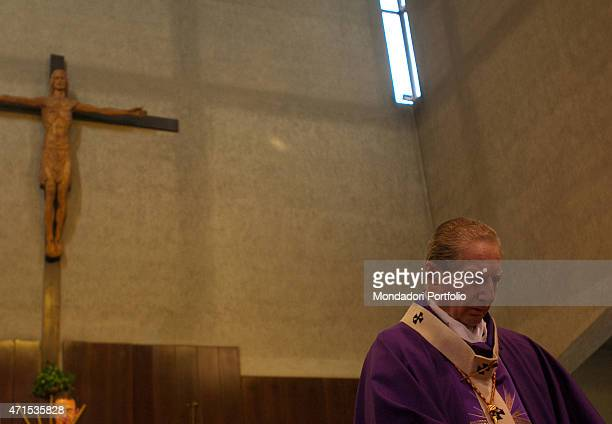'The Archbishop of Milan Cardinal Carlo Maria Martini in the purple mozzetta of the Advent time celebrates Mass in the church of St John the Baptist...